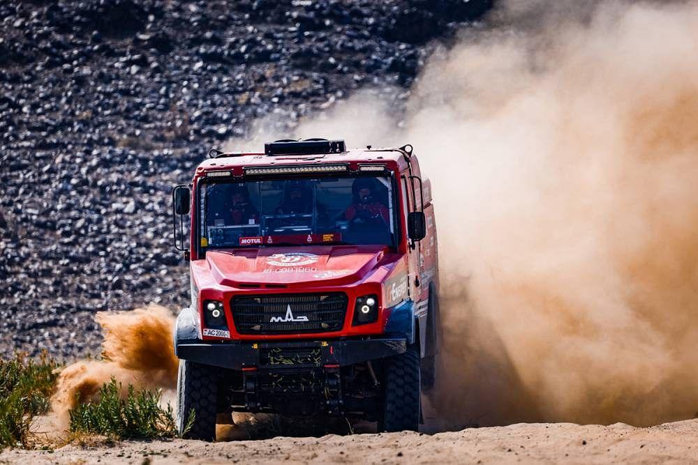 Aliaksei Vishneuski and Siarhei Viazovich of team Maz-Sportauto won the stage three of Dakar 2021 in trucks category