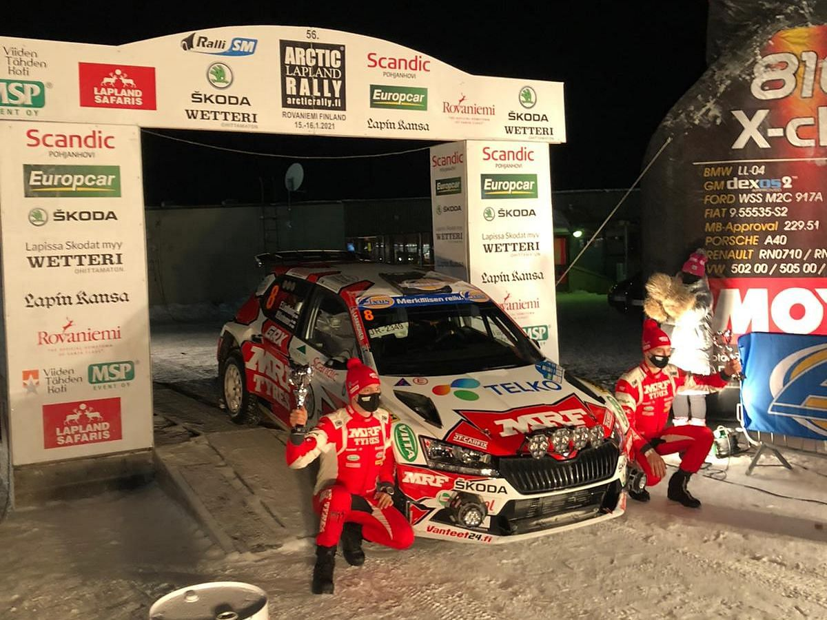 Emil Lindholm and Mikael Korhonen of Team MRF Tyres