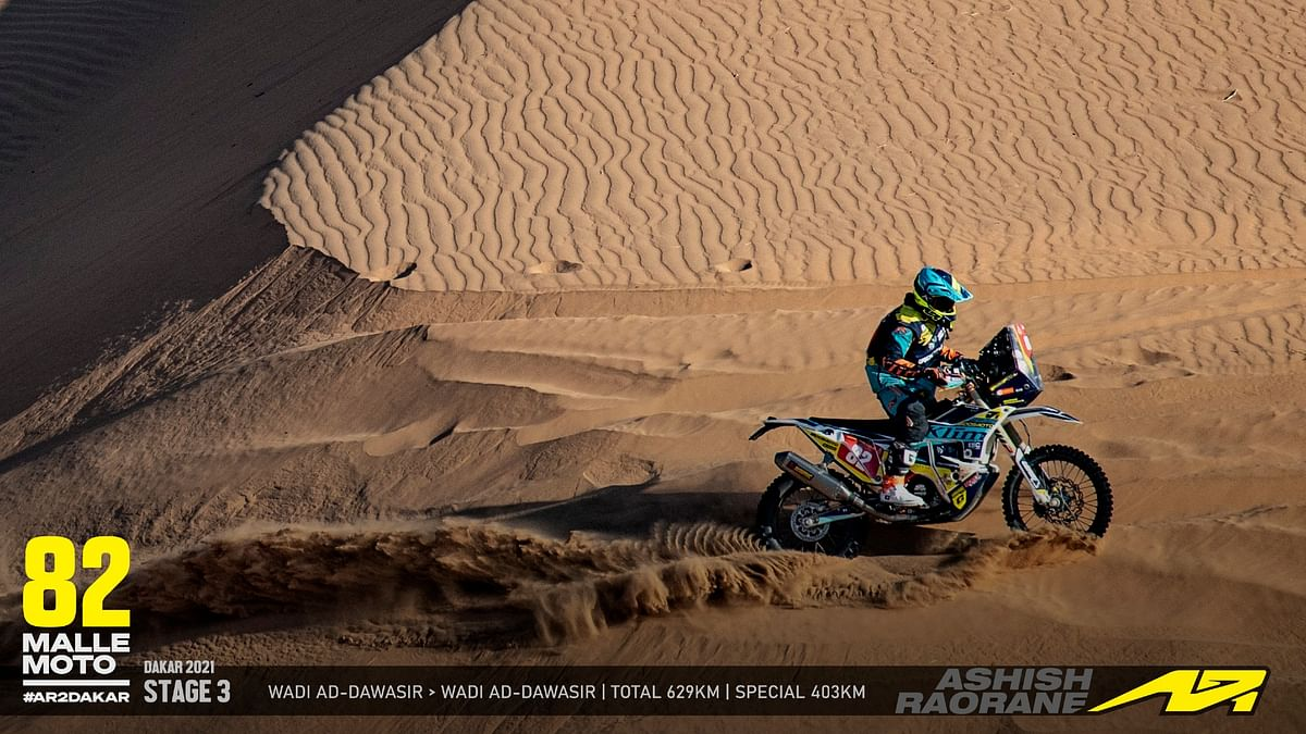 Ashish Raorane at Dakar 2021: Steady progress in Stage 3
