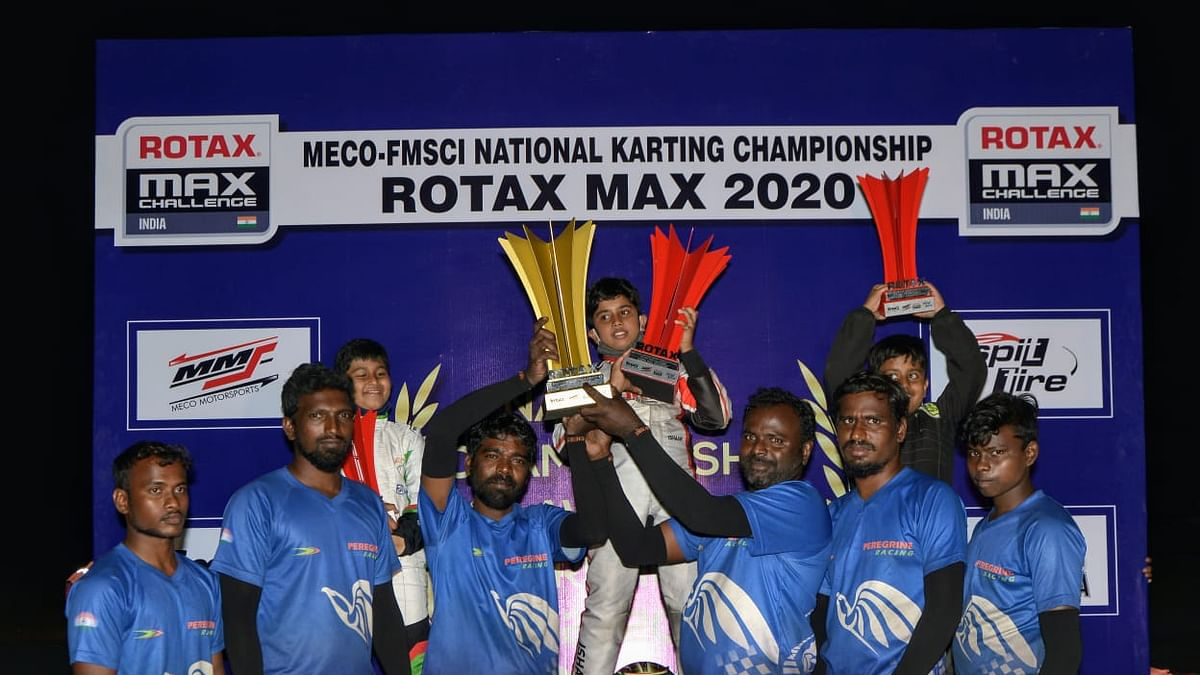 Ishaan Madesh, Rishon Rajeev and Arjun Maini win their classes at the 2020 National Karting Championship Rotax Max Class