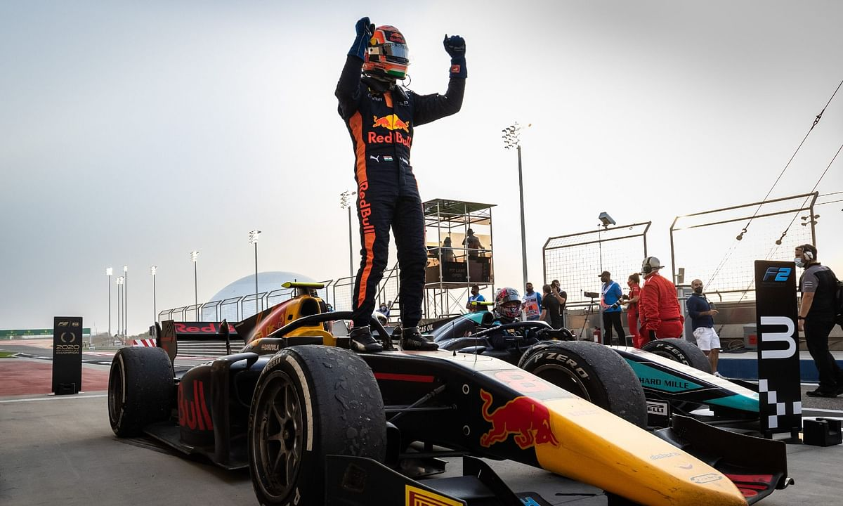 Jehan Daruvala celebrates his win in Bahrain