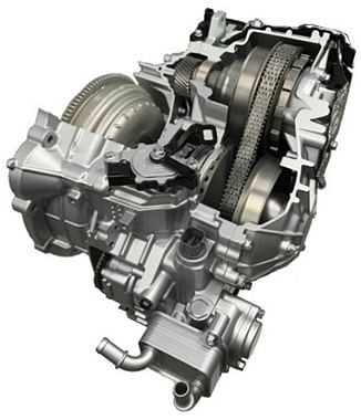 Similar in mechanism to a continuous variable transmission (CVT),  instead picks up virtual gear according to drivers inputs
