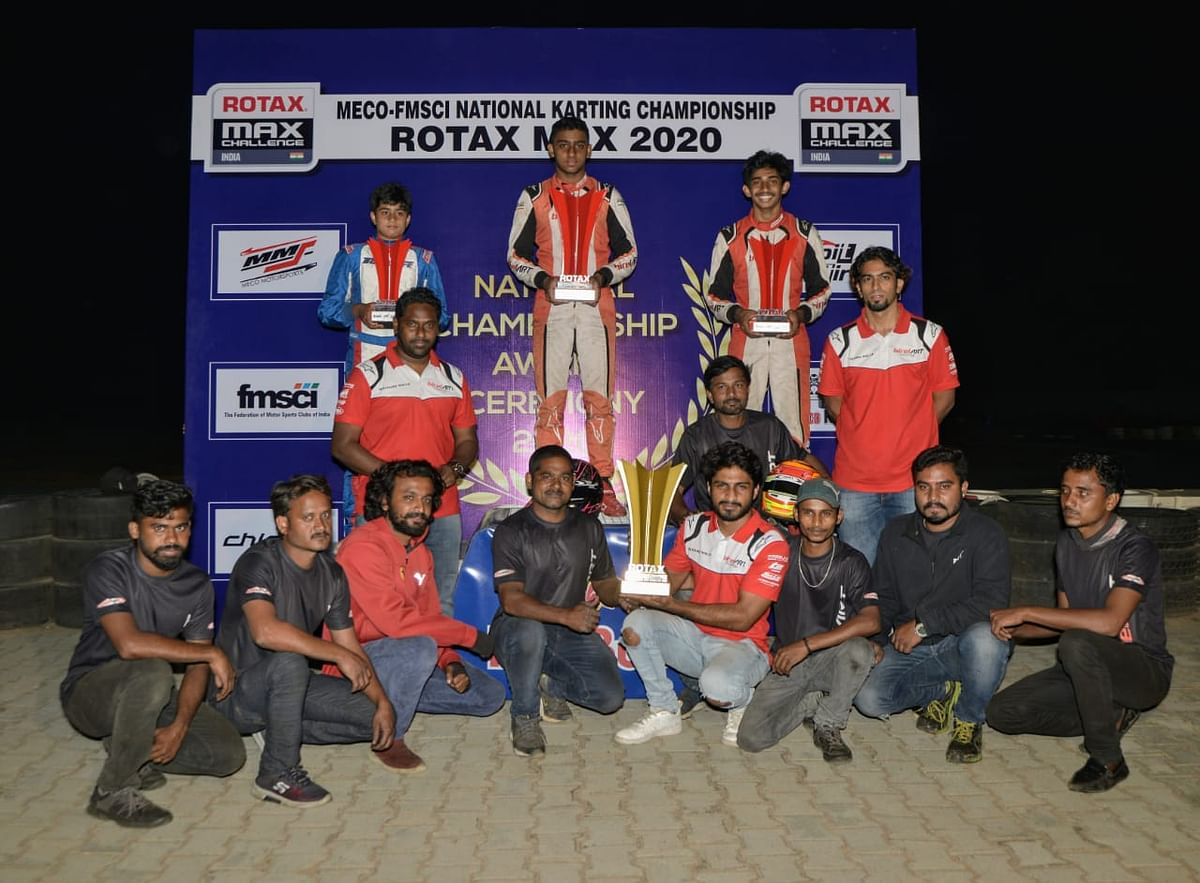 Junior Max class winner Rishon Rajeev with runner-up Ruhaan Alva and Rohaan Madesh, along with Team Champions - Birel Art (sitting)