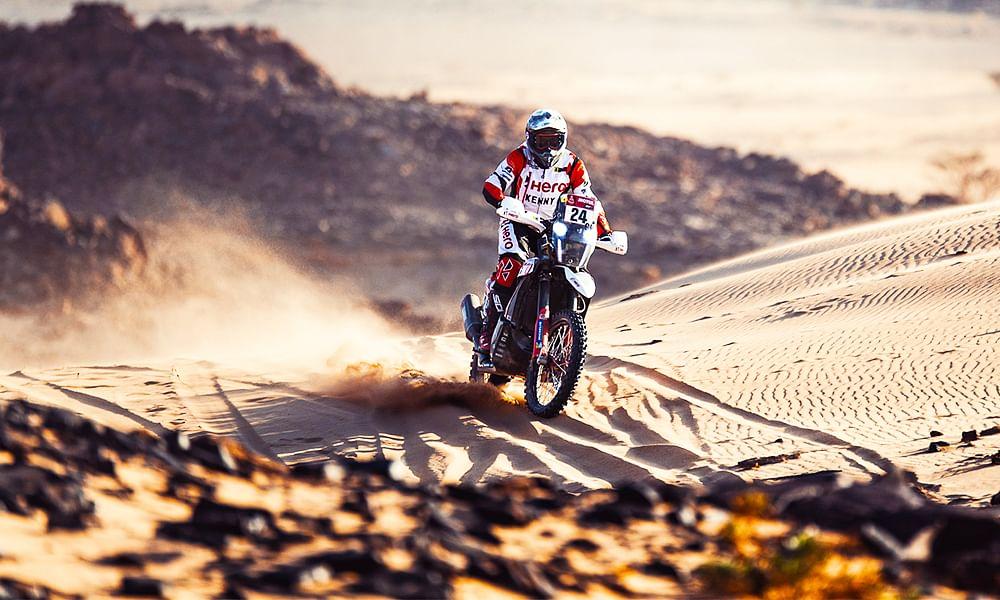 Sebastian Buhler chasing the dunes on Dakar Rally Stage 4; CS Santosh crashes out