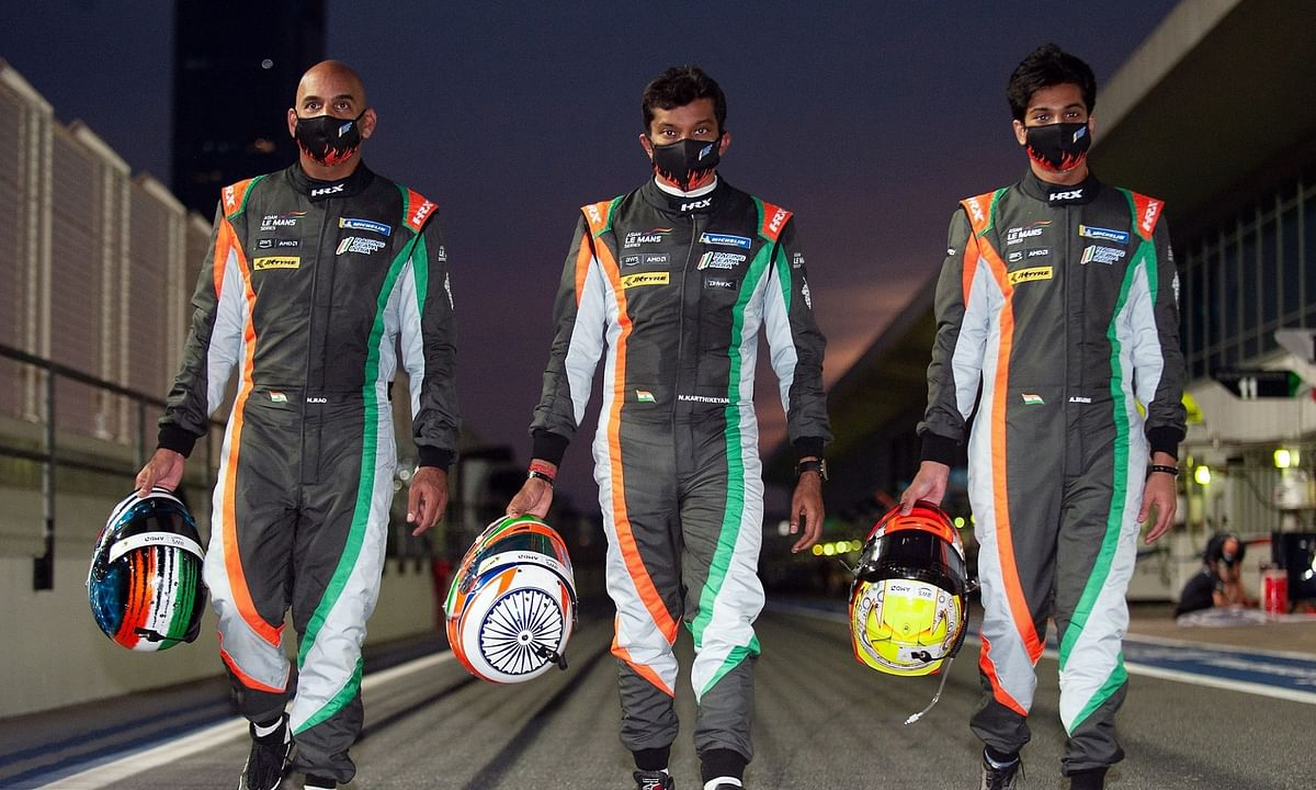 Racing Team India's Drivers (L-R) Naveen Rao, Narain Karthikeyan, Arjun Maini are all set for the upcoming Asian Le Mans series