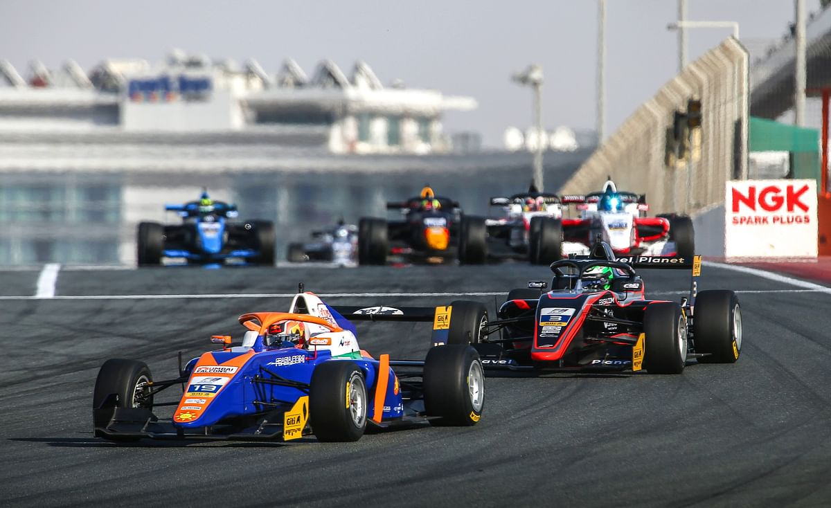 Jehan Daruvala in actrion during Round 1 of the Formula 3 Asian Championship