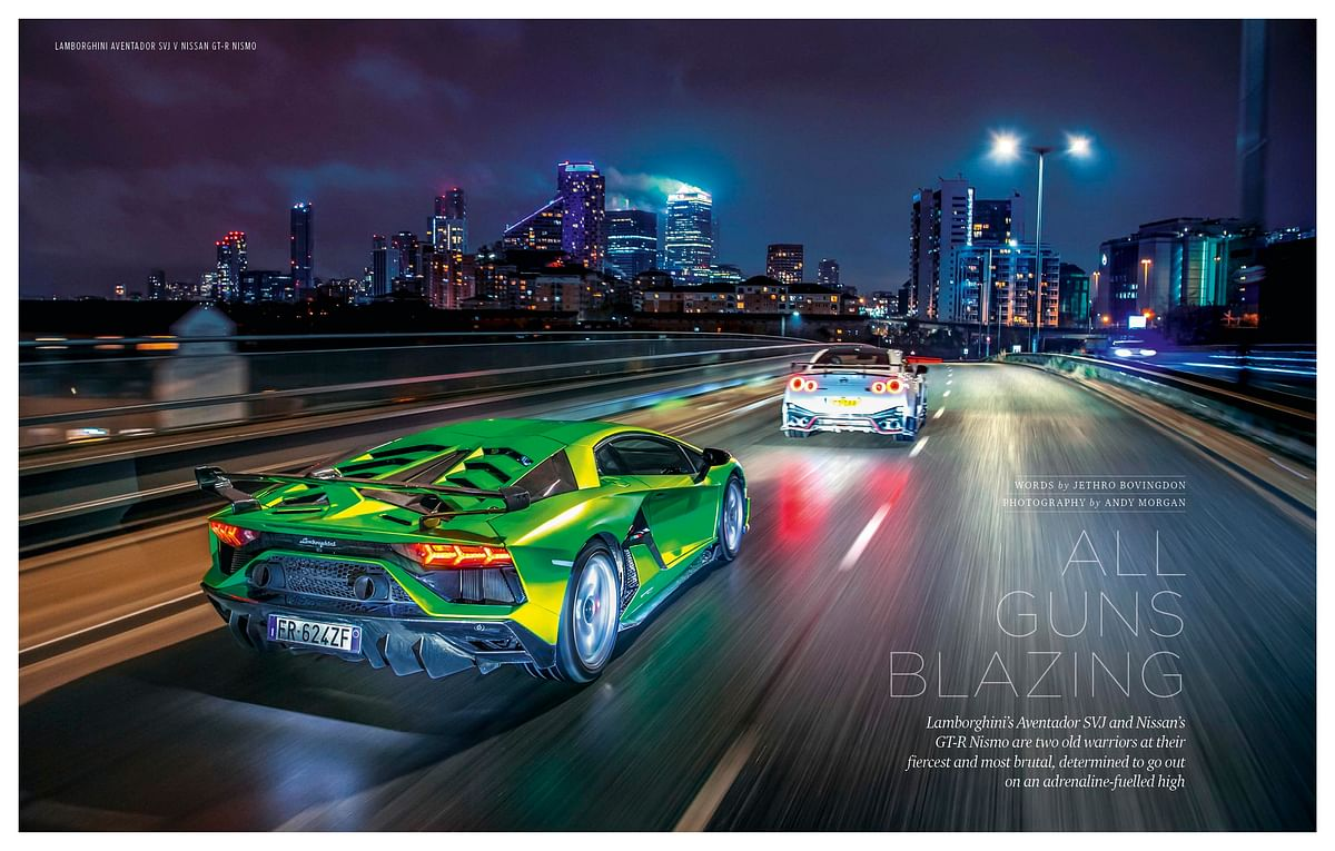 Two very extreme machines take to the streets in the night for some proper game-like action photos