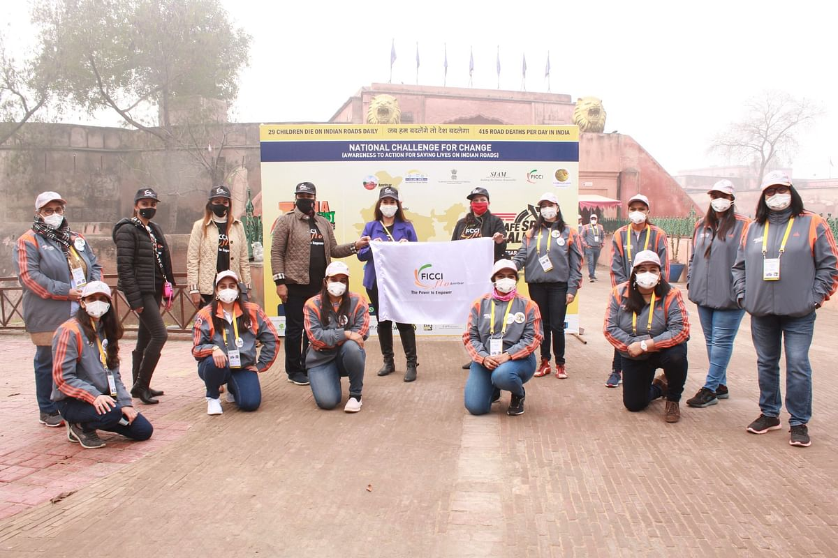 Members of the all-women team at the flag-off for the road safety rally