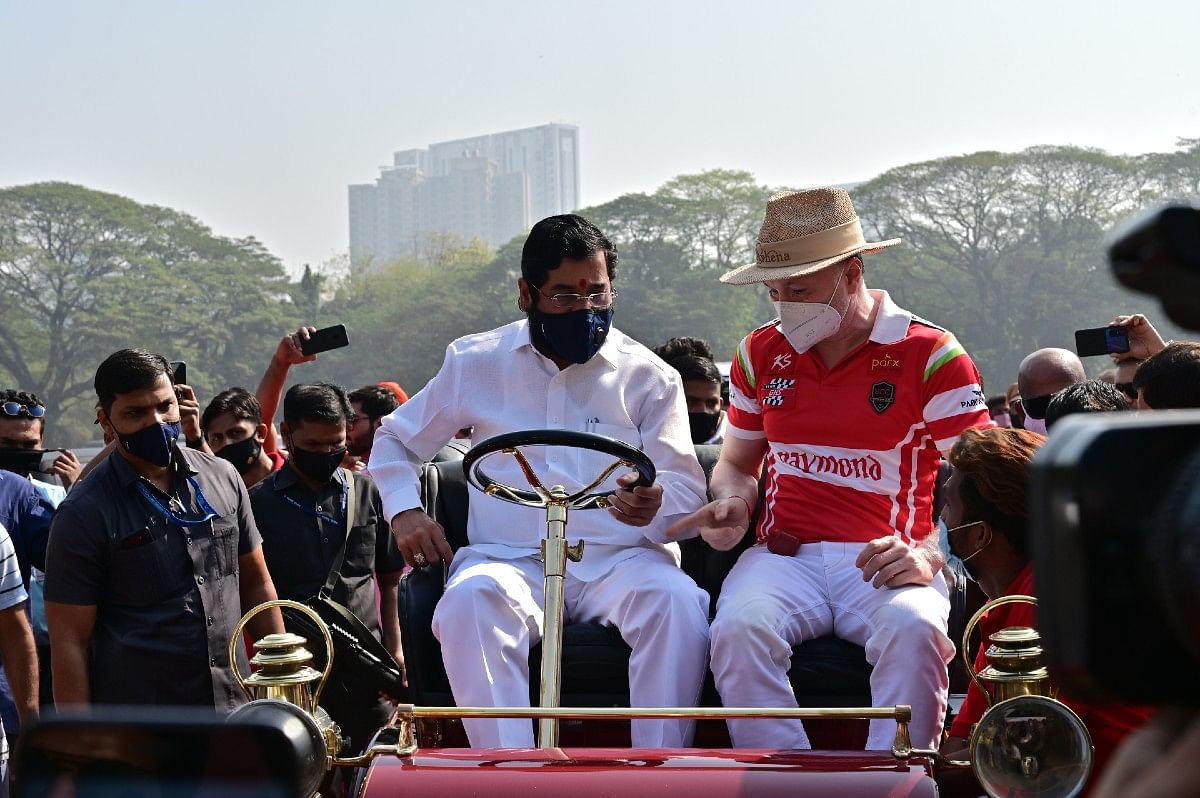 Cabinet minister Eknath Shinde on board the Cadillac 1903