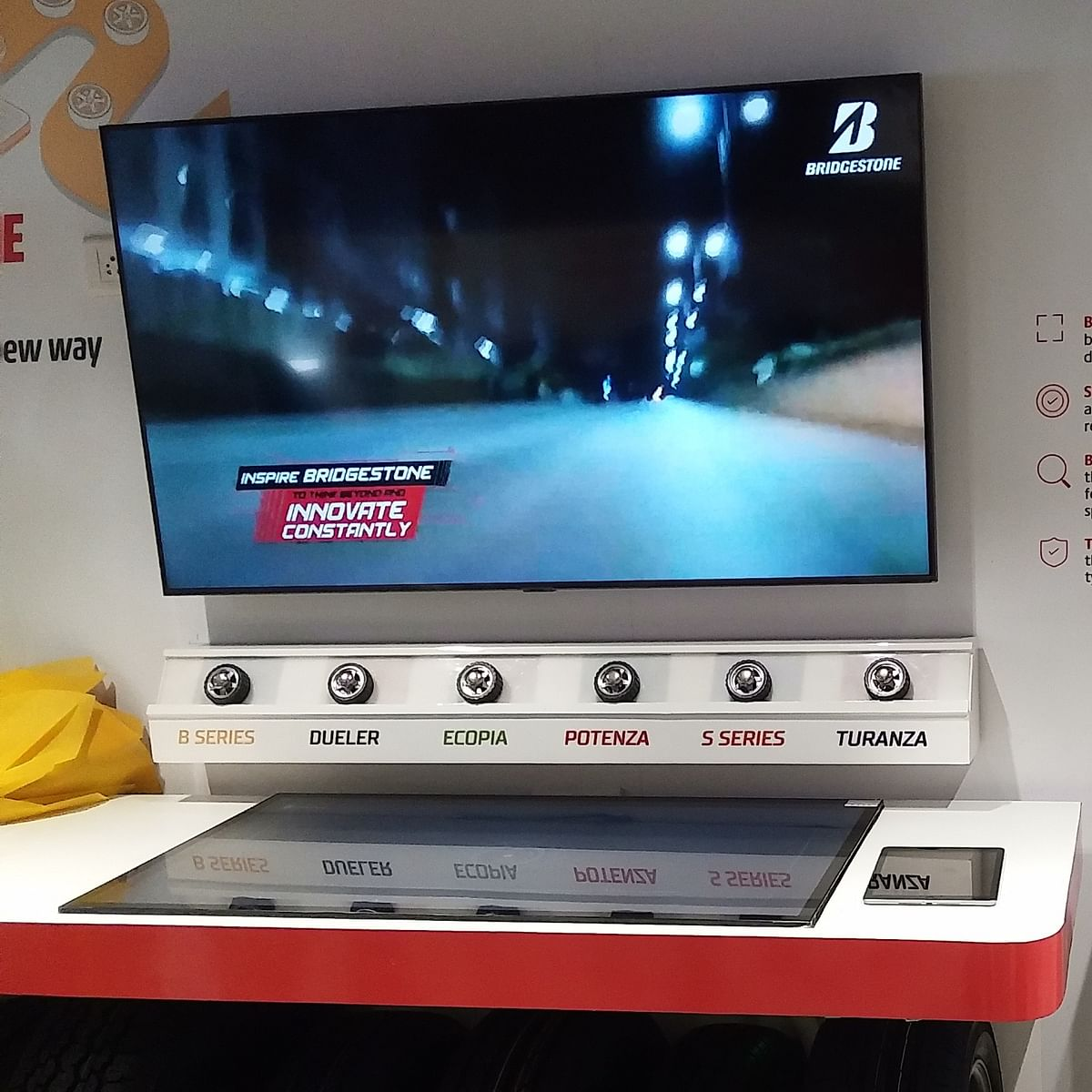 The digital tyre selection kiosk will be the hallmark of the Bridgestone select showroom