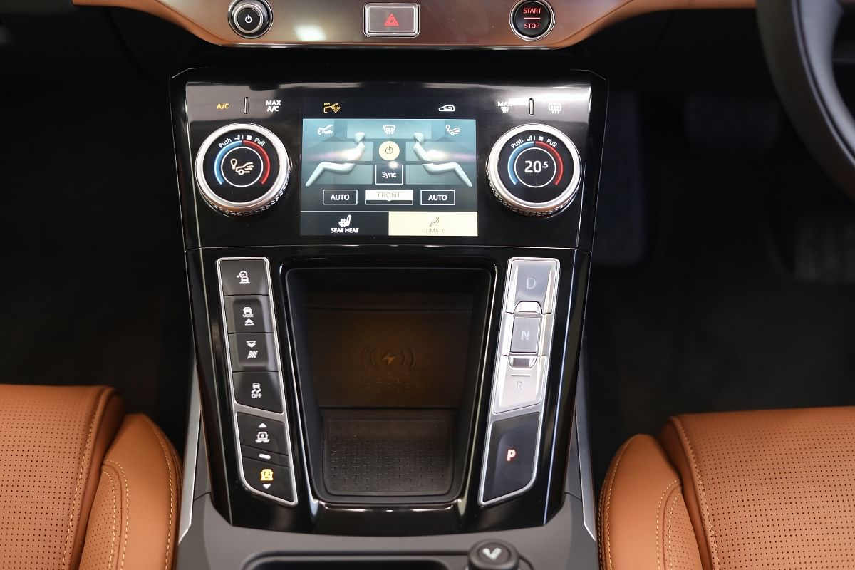 Second screen at the bottom controls various functions of the I-Pace, including HVAC