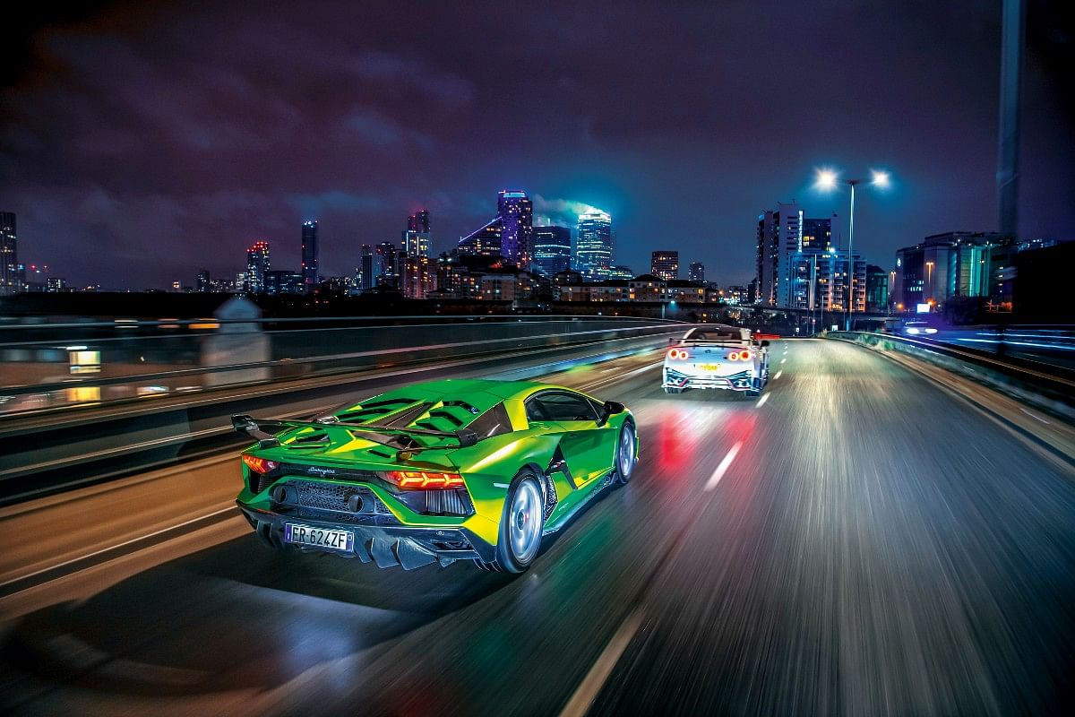 The Lamborghini feels outrageous. The ride is perhaps a sliver more refined, but such is the noise from the vast tyres and the total lack of sound deadening that it feels even harsher.