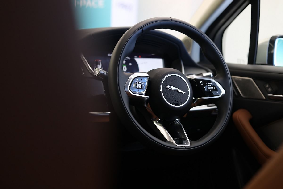 Jaguar I-Pace gets a three-spoke, leather-wrapped steering wheel with touch-sensitive controls