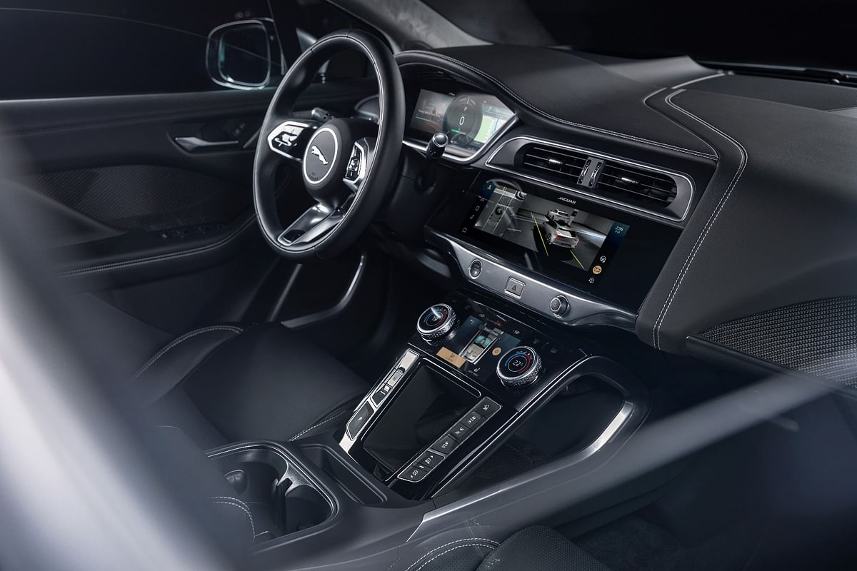 The I-Pace's dash gets JLRs' dual screen infotainment system