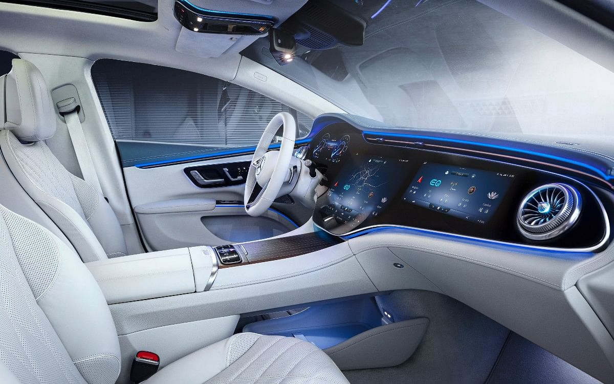 The Mercedes EQS gets a floating centre console with storage space under it