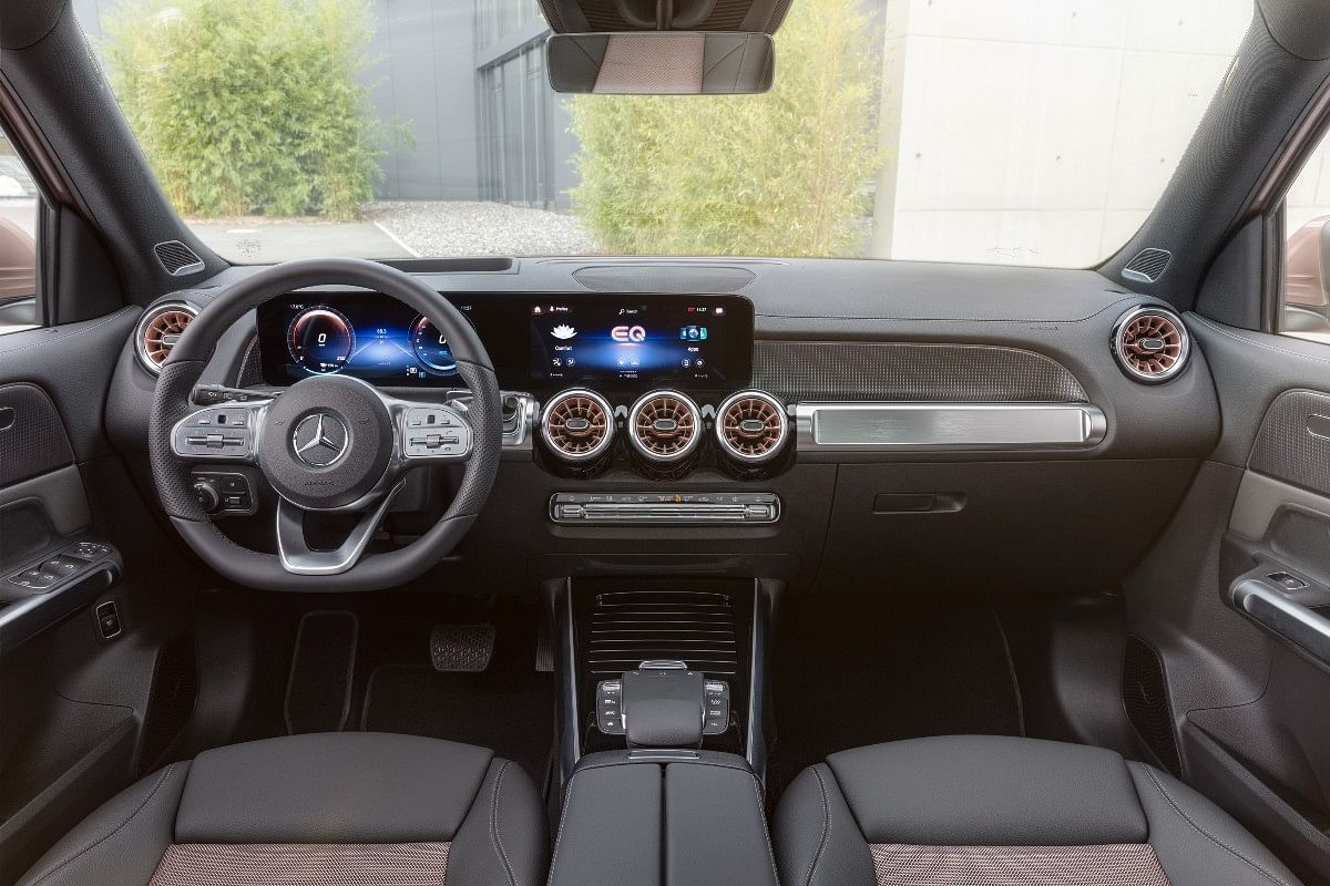 The Mercedes EQB gets rose gold accents on the inside