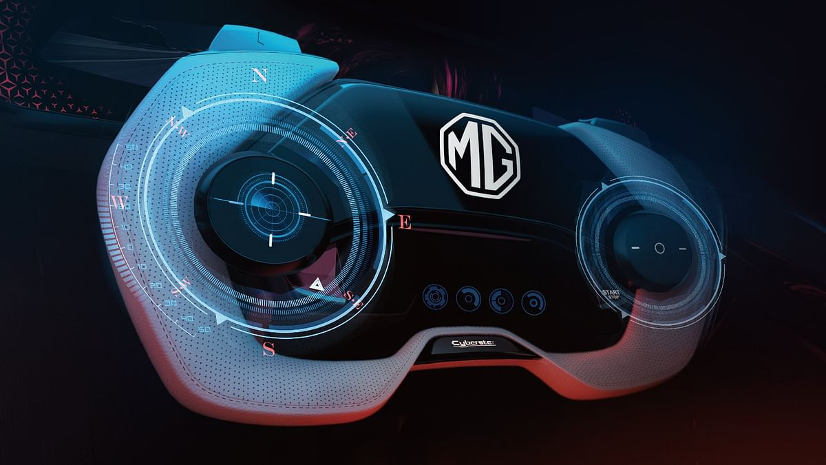 The MG Cyberster's steering wheel doubles as a gaming console
