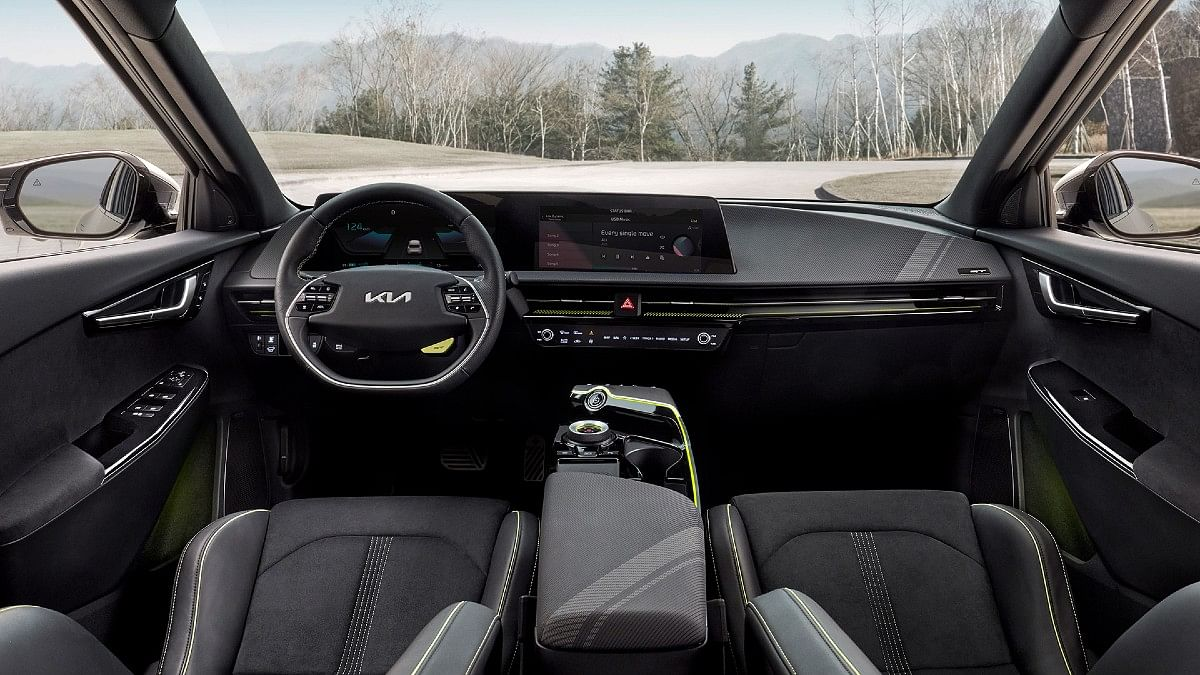 The Kia EV6 GT gets yellow accents on the inside