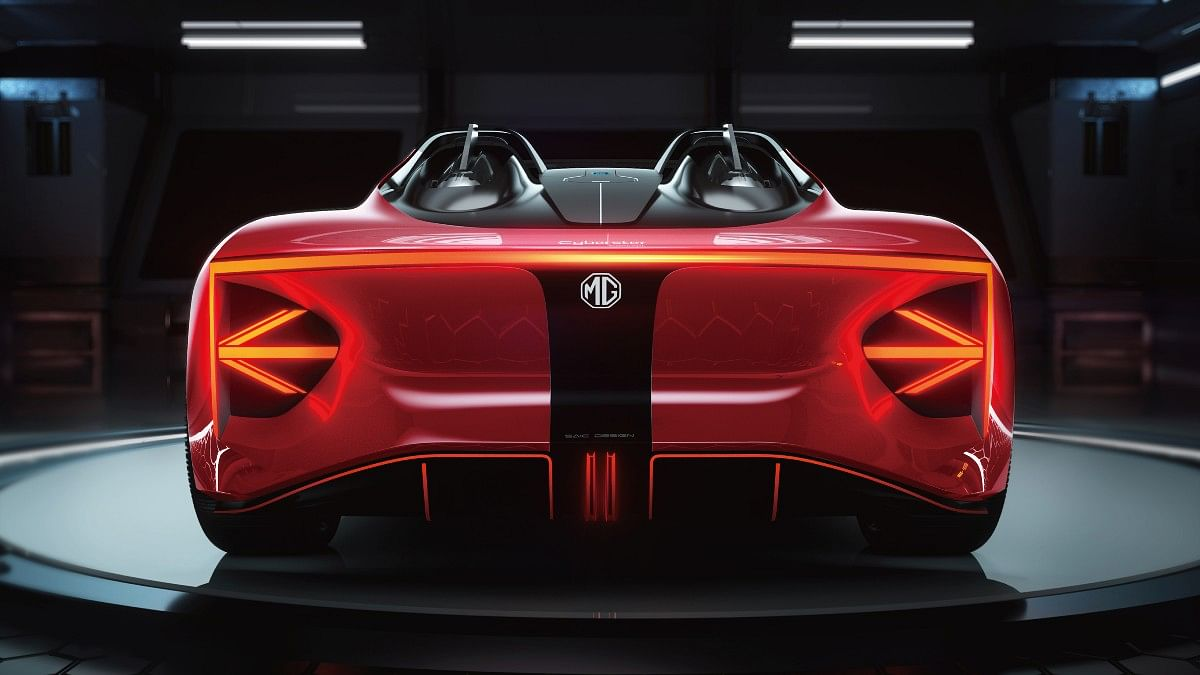 The rear of the MG Cyberster gets a unique tail light design that mimics the Union Jack