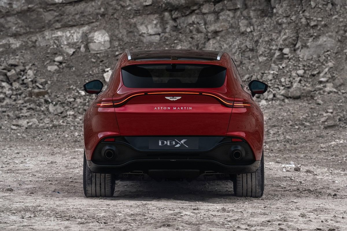The Aston Martin DBX gets a ducktail spoiler and  an LED light bar similar to that on the Vantage