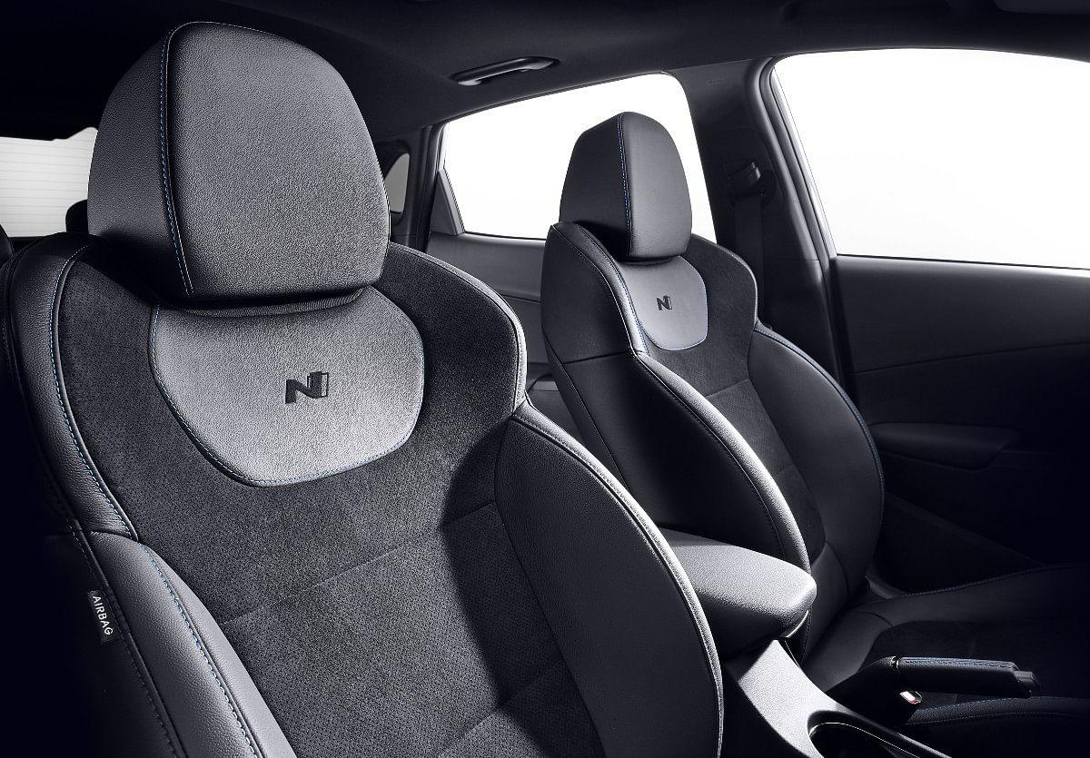 The Hyundai Kona N gets Alcantara and Suede Seats with N logo inserts