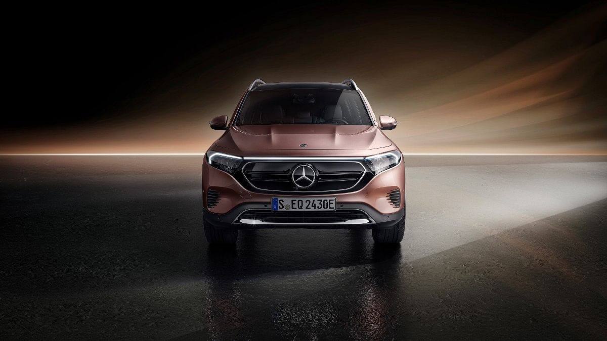 The Mercedes EQB gets a solid grille and revised bumpers from the GLB