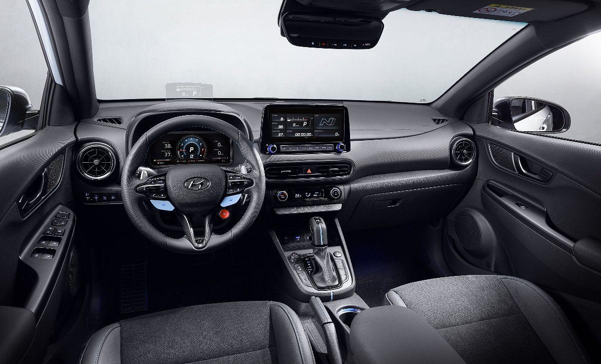 The Hyundai Kona N gets Performance Blue highlights inside