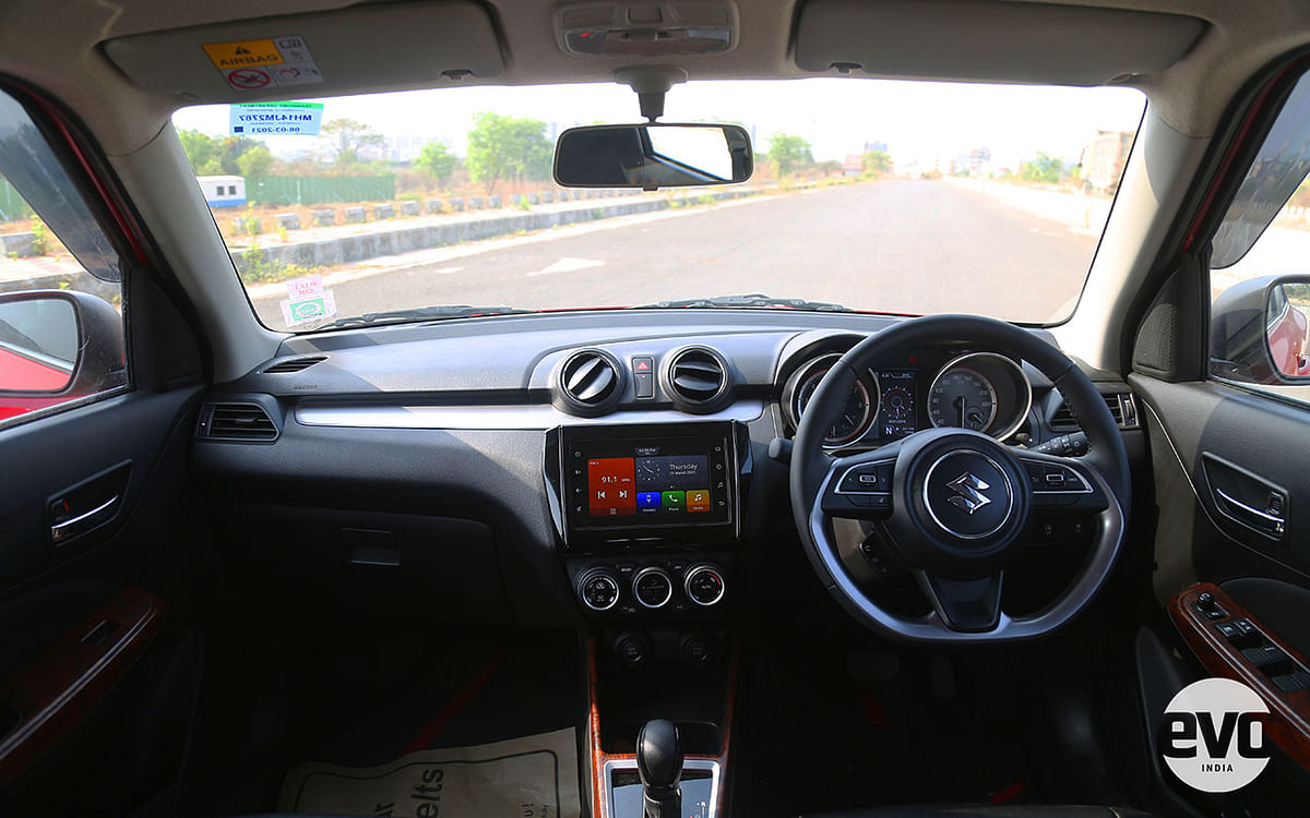 New Swift carries forward it's cabin design from the outgoing model with additions like the volor display and cruise control