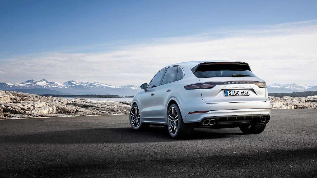 The Porsche Cayenne Turbo gets a full-width LED light bar at the rear