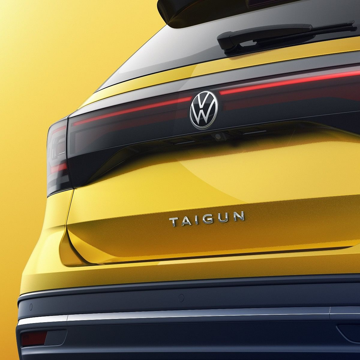 The Volkswagen Taigun gets a full-width LED light bar at the rear