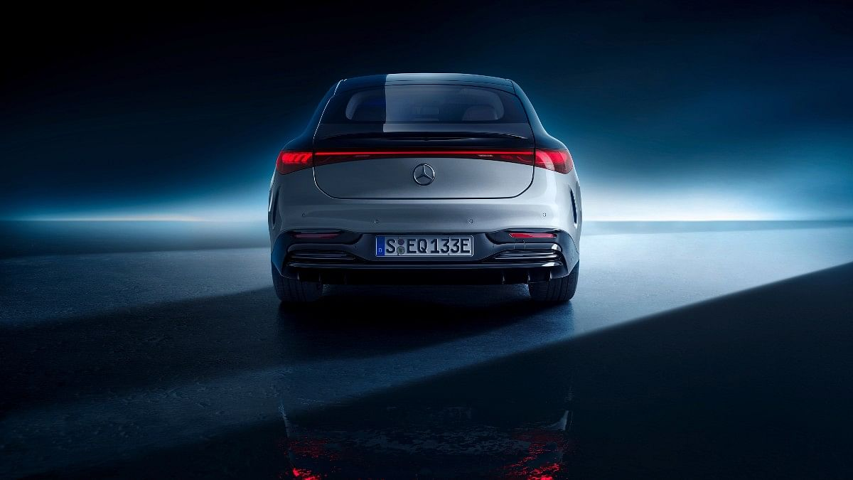 The Mercedes-Benz EQS gets a full-width LED light bar at the back