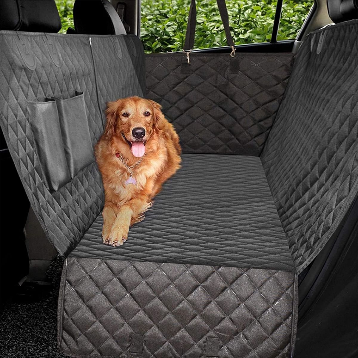 A seat cover also keeps your dogs happier!