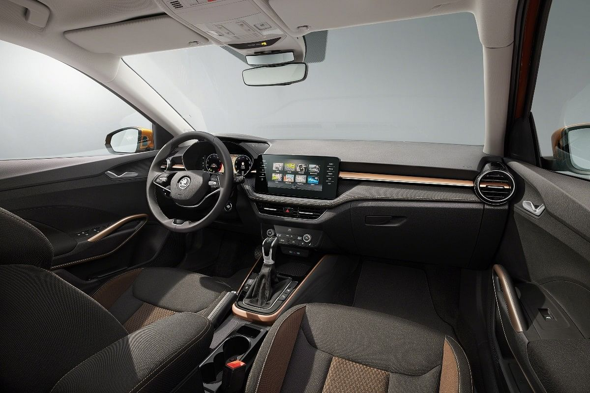 The new Skoda Fabia gets copper touches on the dashboard and the upholstery