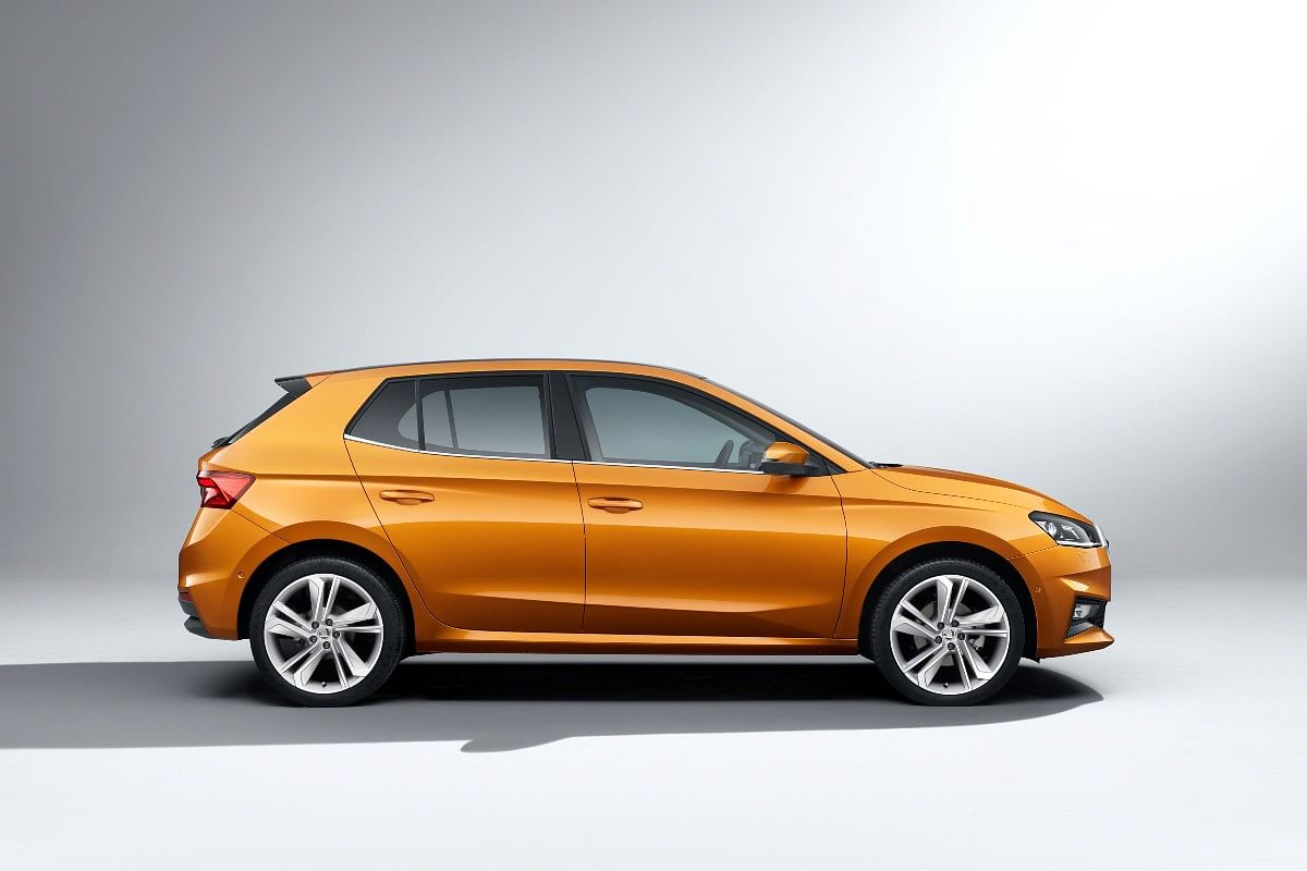 The new Skoda Fabia flaunts a prominent shoulder line and a kink on the rear windows