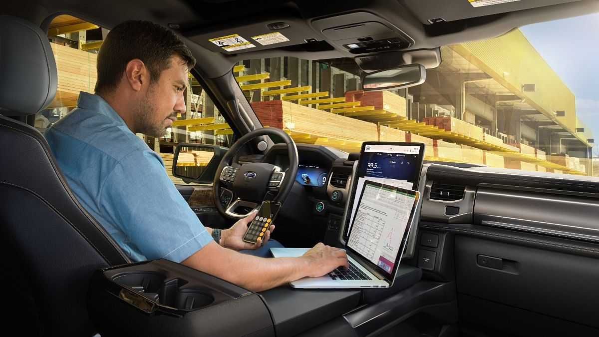 The Ford F-150 Lightning gets a centre console which is designed to turn into a workspace