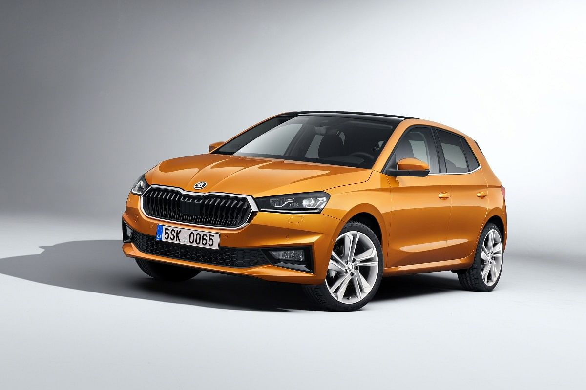 The new Skoda Fabia gets a large hexagonal grille and a sculptured hood