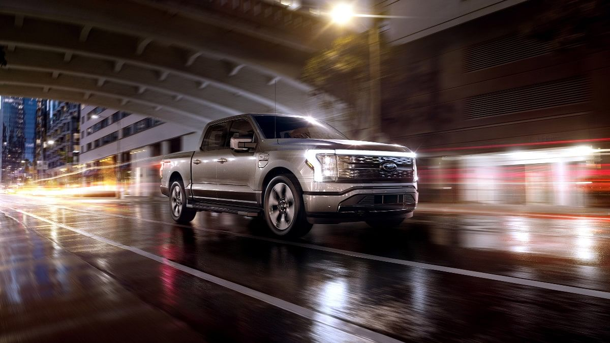 The Ford F-150 Lightning gets  a solid grille, LED lightbar and aerodynamic alloys