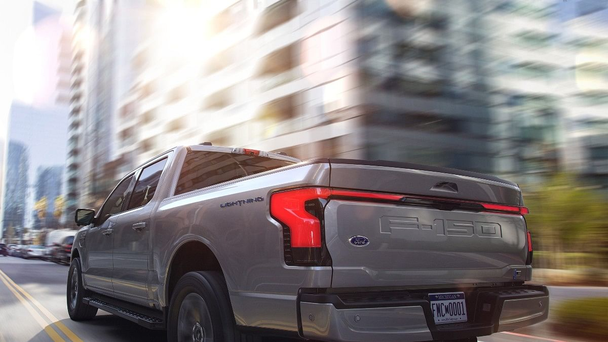The Ford F-150 Lightning gets a full-width light bar at the rear on higher trims