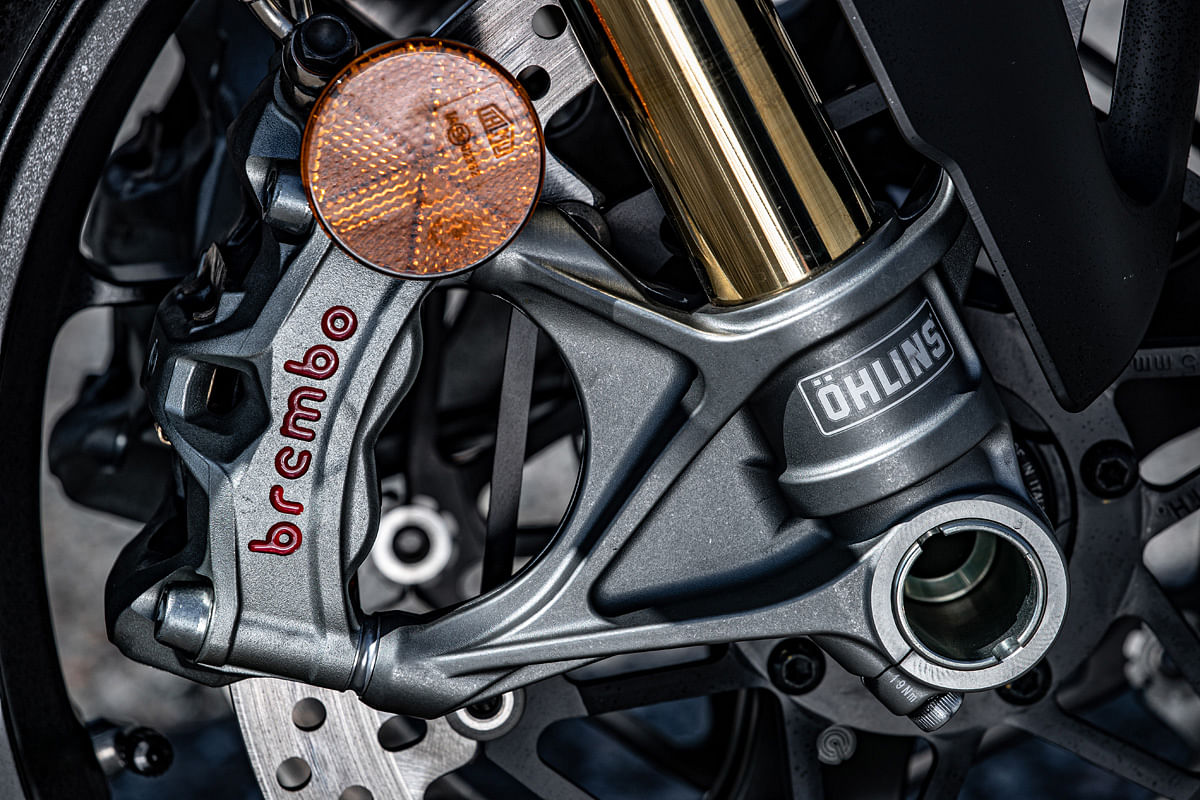 Top-spec Brembo calipers and Ohlins suspension