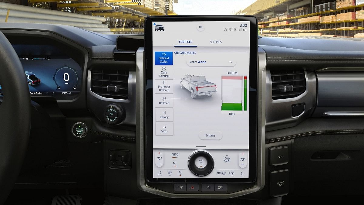 The Ford F-150 Lightning gets a portrait style 15.5-inch infotainment touchscreen with a volume knob