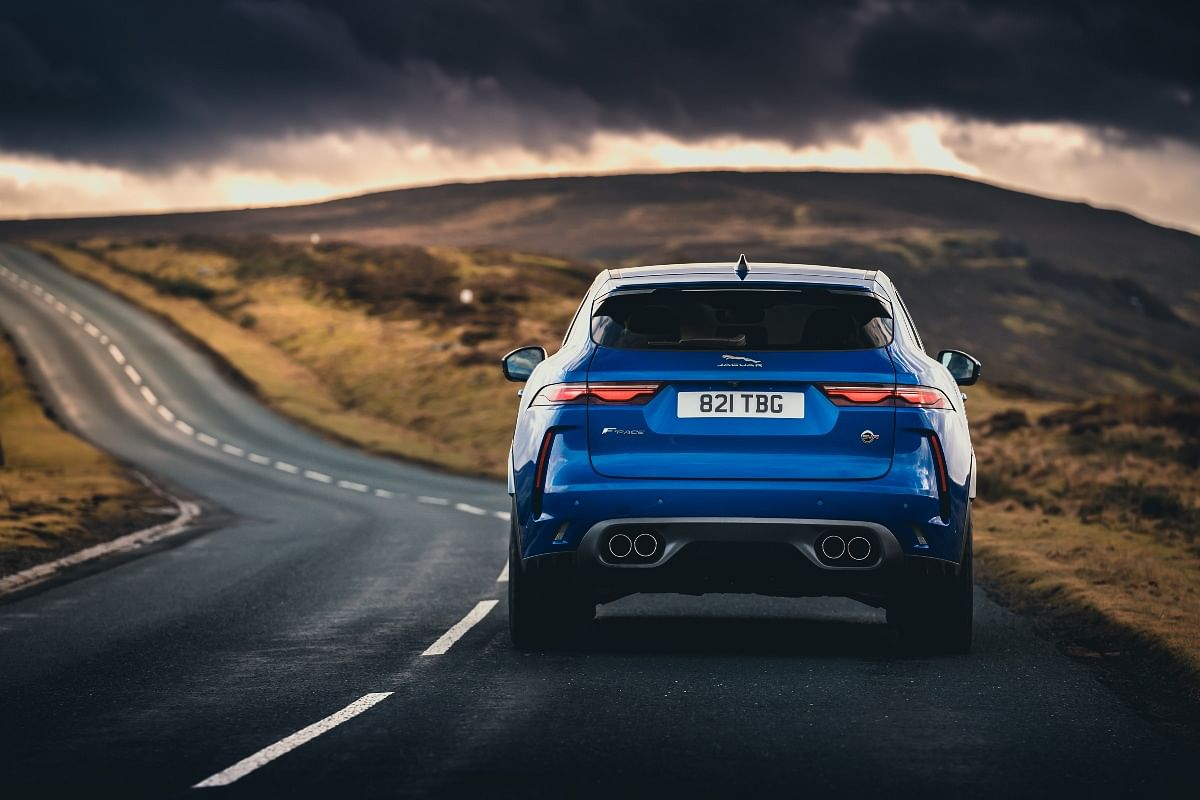 Dual exhaust pipes surrounded in grey adds to the sportiness of the F-Pace SVR