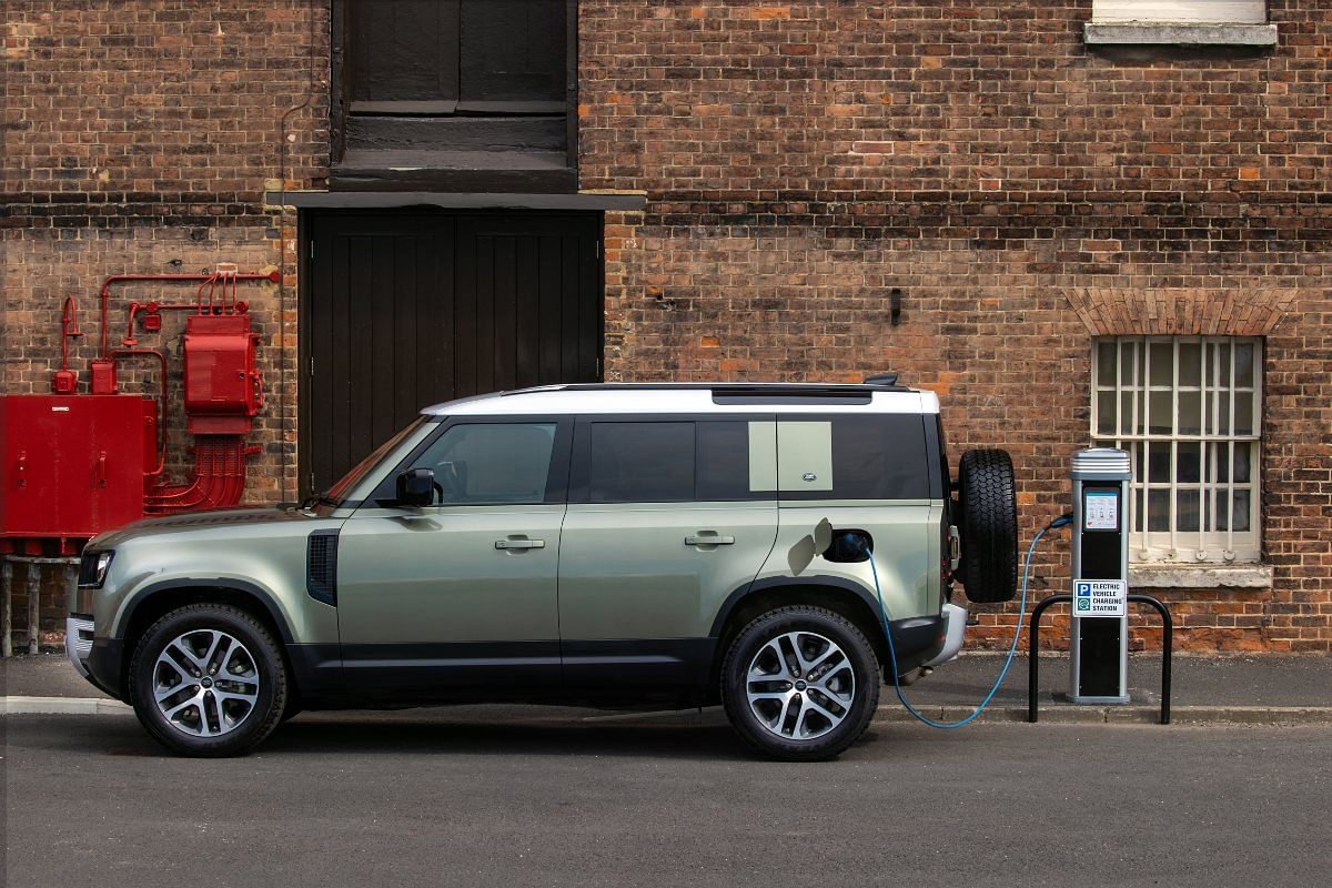 Land Rover aims to achieve zero tailpipe emissions by 2036 (Pictured is the PHEV Defender)