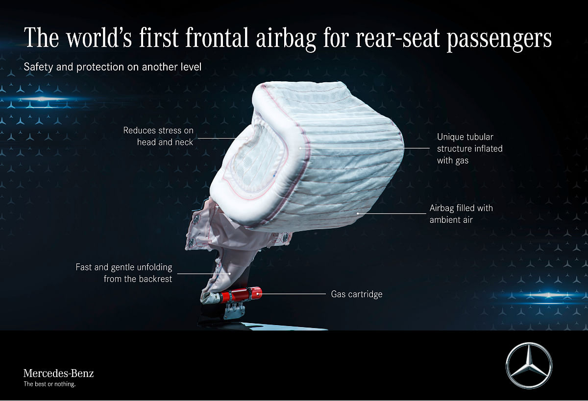 The frontal airbag reduces injuries to rear passengers during a collision
