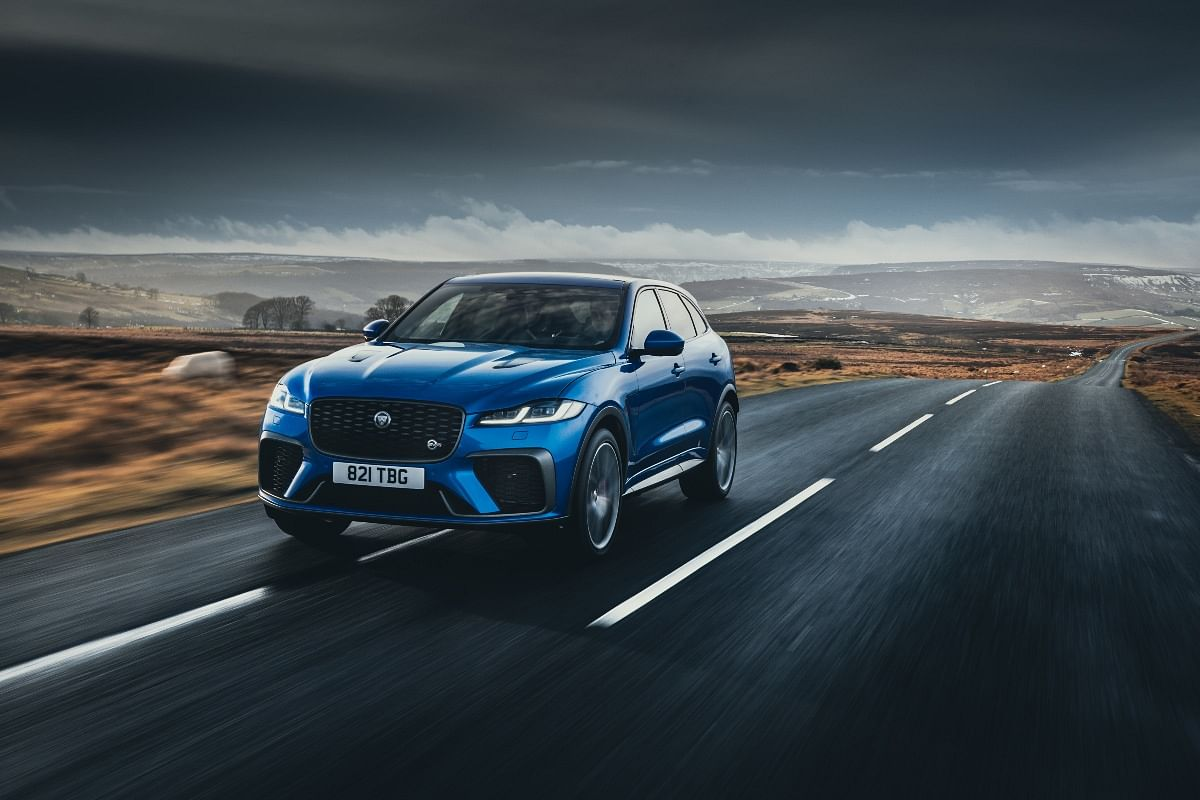 The front grille gets SVR badging to differentiate it from the regular F-Pace