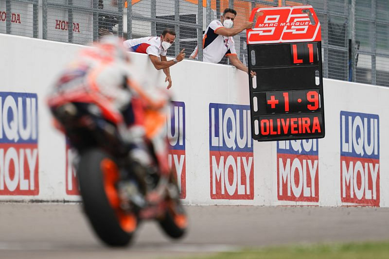 Marquez was feeling the pressure of Oliveira closing in on him towards the end of the race