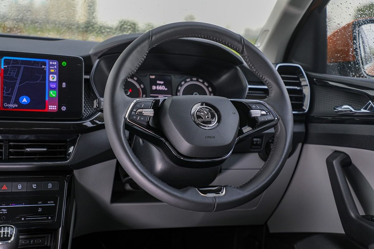 The steering wheel on the Kushaq looks identical to the one on the new Octavia
