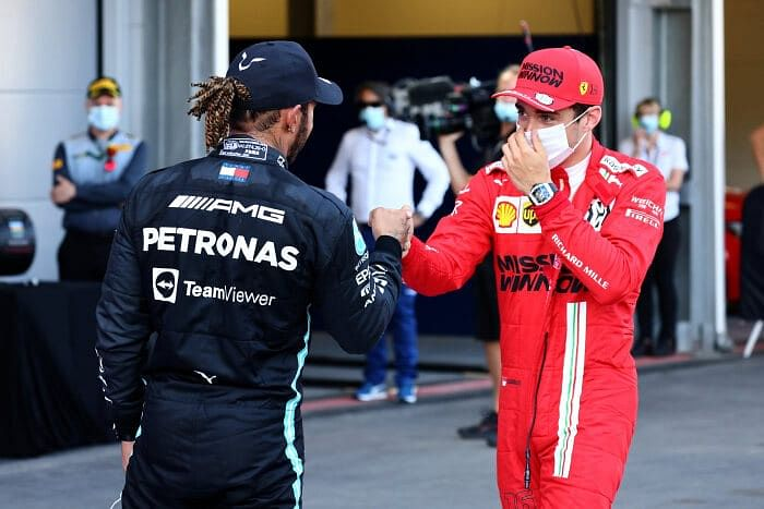 Charles maybe thanking Lewis for the 'tow'