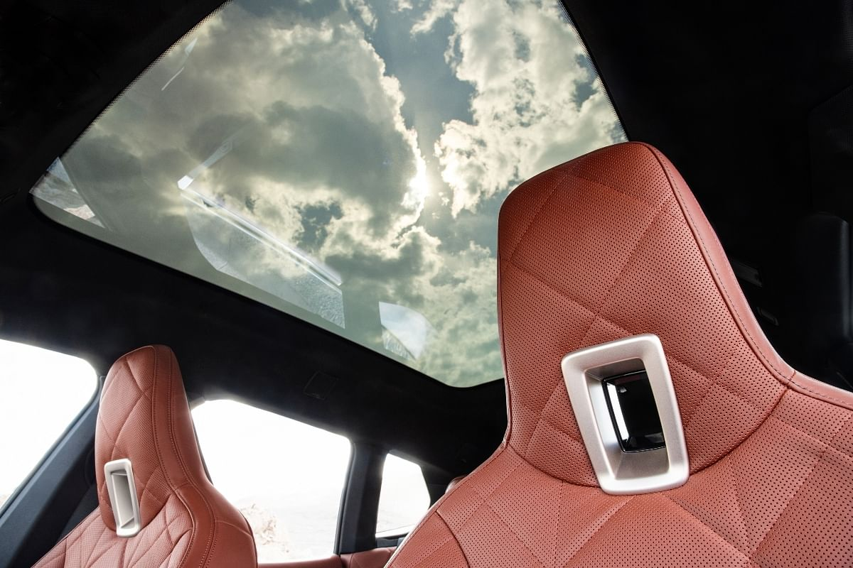 The panoramic sunroof turns from translucent to opaque in the touch of a button