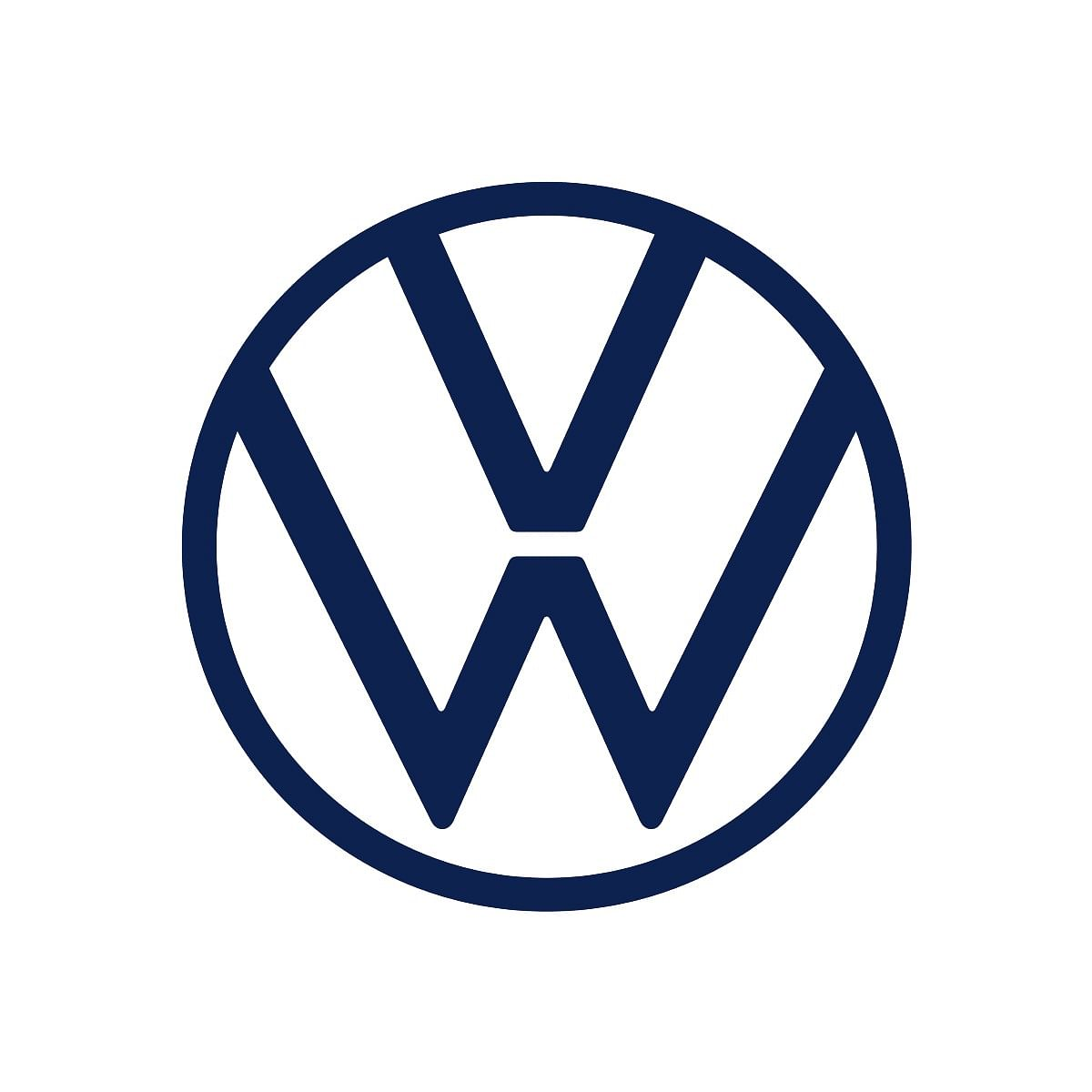 The new VW logo gets a refreshed deep blue shade