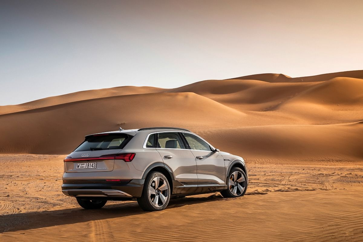 The e-tron's air suspension helps it tackle difficult conditions